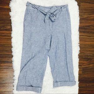 Antonio Melani Linen Pinstripe Resort Ankle Pants